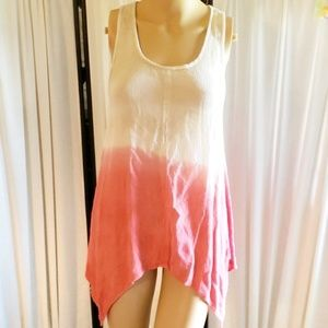 Cream/pink ombre sleeveless asymmetrical tunic, M